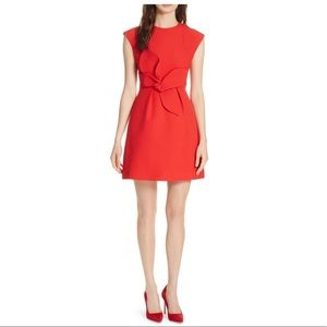 Ted Baker Red Polly Structured Bow Mini Dress